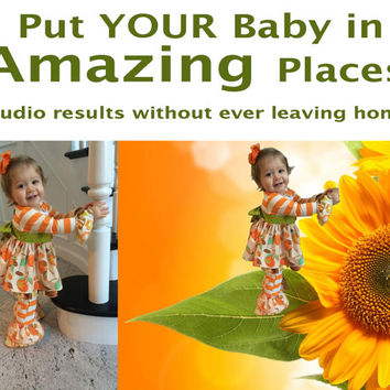 Custom Baby Photo Studio Results Without Ever Leaving Home! From Your Favorite Existing Photo!  Background possibilities are Unlimited!