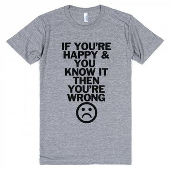 Wrong and Happy-Unisex Athletic Grey T-Shirt