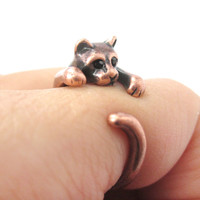Realistic Kitty Cat Shaped Animal Wrap Around Ring in Copper | US Size 3 to Size 8.5 -