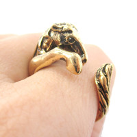 Detailed Horse Pony Animal Wrap Around Ring in Shiny Gold | US Size 4 to 9 -