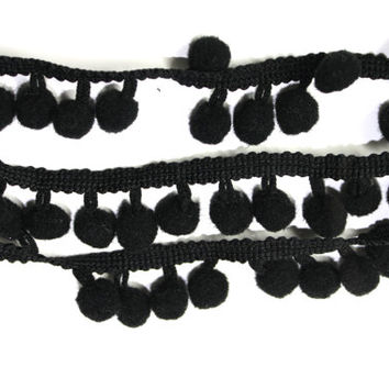 2 YARDS of Bowes Pom Pom Ribbons in Black or White  for Crafts