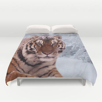 Tiger and Snow Duvet Cover by Erika Kaisersot