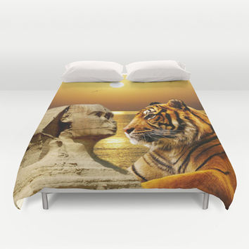 Tiger and Sphinx Duvet Cover by Erika Kaisersot