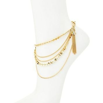 Layered Coin & Tassel Anklet by Charlotte Russe - Gold
