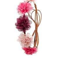 Braided Faux Suede & Chiffon Flower Crown - Pink Combo