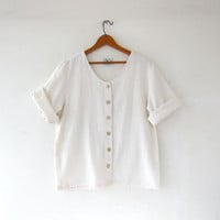 Vintage natural white cotton shirt. Wooden buttons. Short sleeve shirt. Oversized top. Minimalist shirt.
