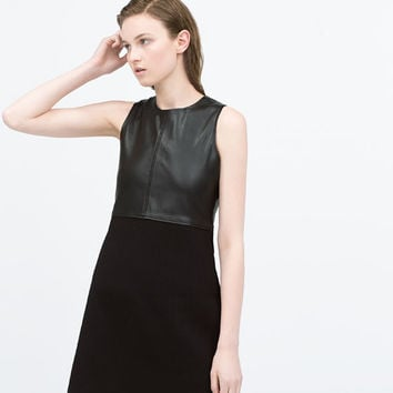 Combined leather dress