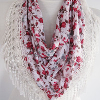White Floral Triangle Cotton Scarf With Lace, Woman Fashion, Cowl, Headband, Christmas, Gift