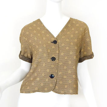 Vintage 90s Button Up Crop Top - Size Medium - Women's Oversized Black and Gold Short Sleeve V Neck Blouse