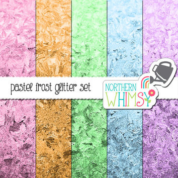 Glitter Frost Digital Paper Pack – pastel colored photographic frost images for scrapbooking, websites, etc – instant download – CU OK