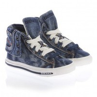 Diesel Blue Denim High-Top Trainers  | Childrensalon