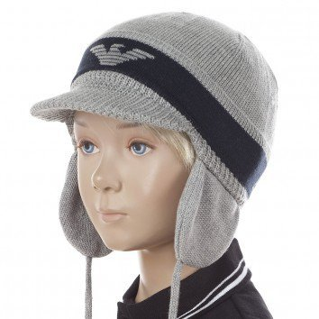 Armani Boys Navy Grey Wool Hat with Peak  | Childrensalon