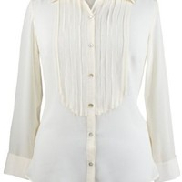 Avenue Plus Size Tuxedo Detail Blouse $19.99