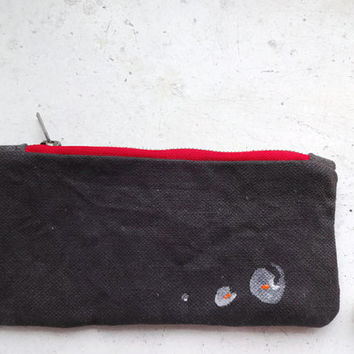 Waxed Canvas Clutch, Handmade,Silver Gliter, Hand Painted Small Clutch Bag, ,Waxed Canvas Pencil Case, Grey Pencil Case, Small Makeup Bag