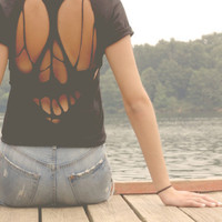 Skull Cut-Out T-Shirt