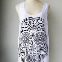 Skull  Women Tank Top -  WomenTank Top t- Shirts top tunic vest Blouses Ladies Sleeveless Tunic Tops Size M L