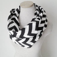 Black and White Chevron Infinity Skinny Scarf
