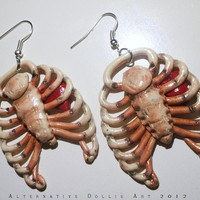 Anatomical Ribcage & Heart Earrings