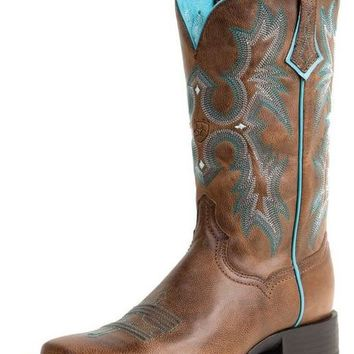 Ariat Tombstone Sassy Brown Sqare Toe Leather Boots