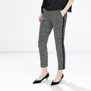 Printed trousers with side detail
