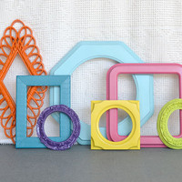 Bright Painted Funky Frames Set of 7 Lime Green Orange Aqua Pink Purple Yellow- Upcycled frames Gallery Wall Playroom Teen Girl Kids room