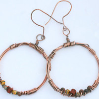Copper Wire Wrapped Large Circle Dangle Earrings