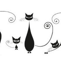 Amazon.com: Platin Art Wall Decal Deco Sticker, Black Cats: Home &amp; Kitchen