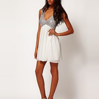 ASOS PETITE Exclusive Sequin Top Babydoll Dress at asos.com