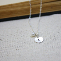 Personalized Sterling Necklace - Freshwater Pearl - Bridesmaid necklace