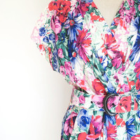Vintage Floral Sun Dress by Petite JAZZ  / 1970&#x27;s Red Mod / Womens Medium Size 12