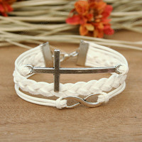 Cross bracelet - white infinity bracelet, bracelet for girlfriend, BFF
