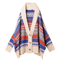 Bohemian Tribal Oversized Knit Bat Sleeve Stripe Sweater Knitwear Cardigan F239