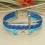 Cross bracelet - blue infinity bracelet, bracelet for boyfriend, BFF