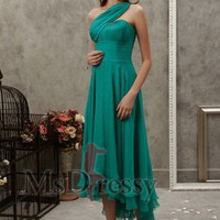 Sheath One Shoulder Tea-length Chiffon Cocktail Dress with Layers and Ruched at Msdressy