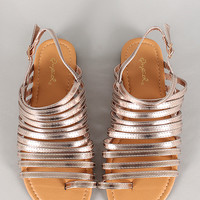 Qupid Metallic Strappy Toe Ring Slingback Flat Sandal