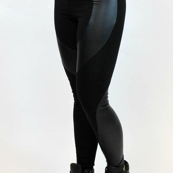 Low Rise Leather Patch Legging