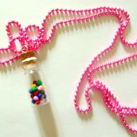 Gumball Rainbow Neon Pink Necklace Jar Charm