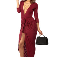Simple But Classy Burgundy Maxi Dress