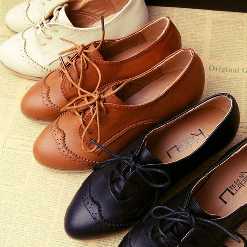 Amazing Ollio Womens Classic Dress Oxfords Low Flats Heels Lace Up Multi