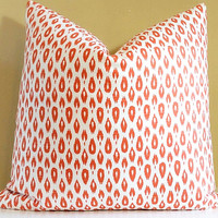 Orange Ginger pillow small ikat print pillow cover 22x22 Fabric both sides