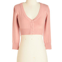 ModCloth Pastel Short Length 3 Cropped The Dream of the Crop Cardigan in Petal