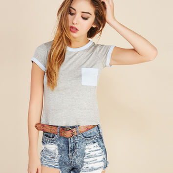 Cropped Ringer Pocket Tee | Wet Seal