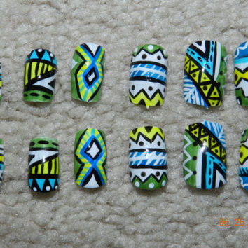 blue, green yellow and white aztec nails