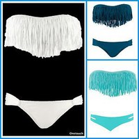 2012 girl hot sexy Fringe Benefits Dolly Bikini Top &amp; Bottom swimsuit