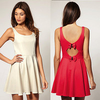 ASOS Skater Dress with Bow Back Cream New US 4, UK8 (S)