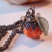 Cinderella Pumpkin Necklace in Howlite by RhondasTreasures