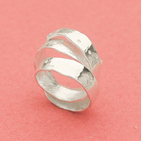 Apple peel silver adjustable ring by ateliershinji on Etsy