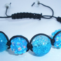 Ocean Blue Aqua Sparkle Bling Beaded Basketball Wives Inspired Hemp Style Macrame Adjustable Bracelet