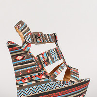 Dollhouse African Print Strappy Open Toe Platform Wedge