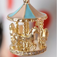 Multi-Colour Retro Crystal Merry Go Round Memories Carousel Horse Necklace Gril
